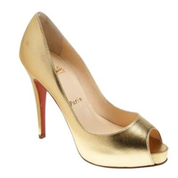 2dafd99759aa Christian Louboutin Shoes - Christian Louboutin Very Prive 120 Pumps Gold 9